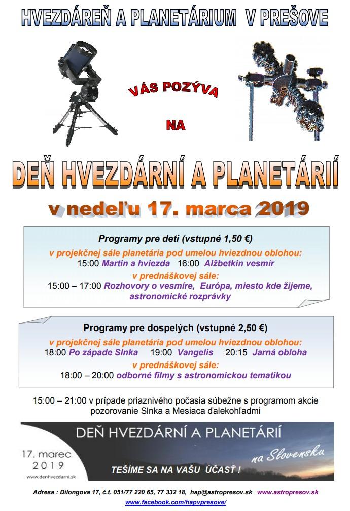 Deň hvezdární a planetárií - 17.3.2019